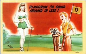 1940s Sexy Woman on Golf Course CHET WARNER signed DC-39 Comic Linen Postcard BH