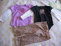 Jumping Beans Baby Girl Long Sleeve Bodysuits, Animal Prints Pants Size 12M,18M