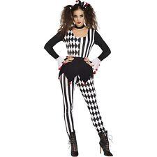 Adults Jester Lady Fancy Dress Halloween Costume Ladies Harlequin Clown Womens
