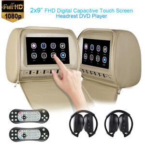 2x9 inch Touch Screen 1080P Car Headrest DVD Player Video Monitor-Beige