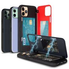 Magnetic Hold Lock Hard Back Card Wallet Case for iPhone 12 11 Pro Max XR 8 Plus