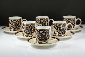WEDGWOOD CORNUCOPIA  ACCENT COFFEE CUPS AND SAUCERS X 6 NEW AD2