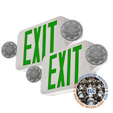 2Pack LED Green Exit Sign Emergency Light - Hi Output Compact Combo UL COMBOGJR2