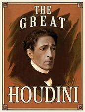 Poster Vintage Art HOUDINI IN HANDCUFFS  paper or Canvas Giclee 12X18 to 40X60