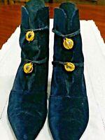 Manolo Blahnik Ankle Boots - Velvet/Suede With Unique Glass Closures - 40