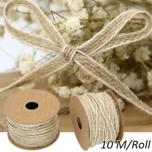 10M/Roll Jute Burlap Rolls Hessian Ribbon With Lace Vintage Rustic Decoration