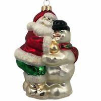 Hand Blown Santa and Snowman Hugging Christmas Holiday Ornament