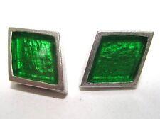 SoHo® Ohrstecker Raute silber grün Kunstharz retro resin Kaltemail SoHo