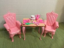 Barbie Doll Furniture Pink Table Royal Chairs Plate Setting Food Lot 17pGORGEOUS