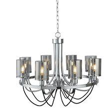 Design 8-fl. LED Lamp Ø70cm Chandelier Light Smoky Glass Ceiling Light New
