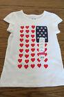 Girl SS Shirt Sz 4 White Patriotic Hearts & Stars 100% Cotton Jumping Beans NWT