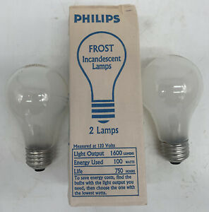 2-Pack Philips 100A Frosted Incandescent 100 Watt Lamp Light Bulb 100W A19
