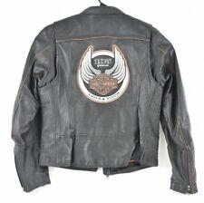 Harley Davidson Black Leather Anniversary Jacket Riding Motorcycle Women's L EUC