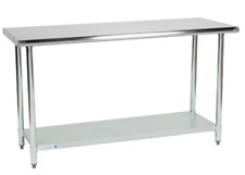 "24""x 60"" Adjustable Table Work Prep Undershelf Restaurant Indoor Stainless Steel"