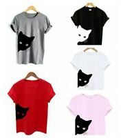 Cat Looking Out Side Printing T-Shirt Women Tshirt Cotton Casual Funny Y