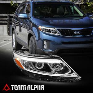 Fits 2014-2015 Kia Sorento [RH Passenger Side] Black LED DRL Projector Headlight