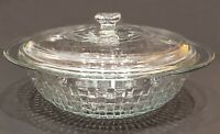 RARE Anchor Hocking  2 QT Clear Basketweave Woven Glass Round Casserole w/ Lid