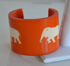 OOAK French hand carved Orange Resin CUFF BRACELET 2 white elephants marquetry