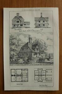 BN77c) Litho Cottages at Killerton 1877 Sir T D Acland Bart Architektur UK 21x30