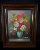 Superbe peinture florale H.S.T mini format encadrement luxe  Edmont Sanders