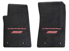 NEW! Ebony Floor Mats 2010-2015 Camaro Embroidered Logo and SS in Red Front Pair