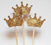 Set 24 Gold Glitter Crown Cupcake Toppers Wedding Picks Party BABY SHOWER New