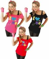 Womens Ladies I Love The 80s Printed T Shirt Top Ladies Fancy Dress Party 8-26