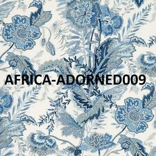 SCHUMACHER BATIK JACOBEAN VINES LINEN FABRIC 10 YARDS DELFT