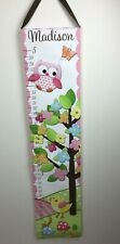 Canvas Grow Chart owl Floral Spring Personalized With Madison
