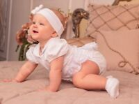 Baby Girl Baptism Dress Christening Bodysuit White Newborn Baby Girl Outfit
