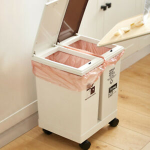 24L Rubbish Bin Dual Compartment Kitchen Bathroom Waste Garbage Trash Dustbin
