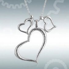 Three Hearts Pendant Necklace Chain Silver Tone Valentines US SELLER Fast Ship
