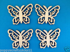 12 NATURAL WOODEN FILAGREE BUTTERFLY CARD MAKING SCRAPBOOKING EMBELLISHMENTS