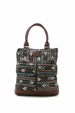NEW BILLABONG WOMENS CANVAS LARGE SHOULDER BAG HANDBAG FAUX LEATHER PURSE TOTE