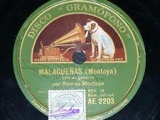 GUITAR 78 rpm RECORD Gramofono RAMÓN MONTOYA Guitar Solo MALAGUEÑAS / GRANADINAS