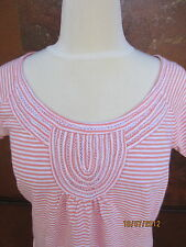 LUCKY BRAND Women's S/S Porto Orange/White Stripe Knit Top Size Small $49.50
