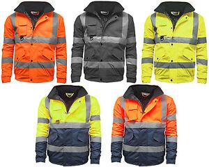 Hi Vis Viz High Visibility Safety Bomber Jacket Work Wear Waterproof Jacket