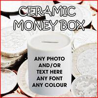 Personalised Money Box Any Photo/Text Piggy Bank Saving Birthday Christmas Fund