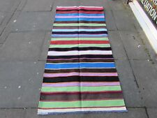 Hand Made Traditional Persian Oriental Wool Cotton Blue kilim Runner 200x90cm