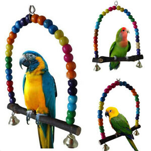 Pet Swing Bell Wood Bird Parrot Cage Toys for Parakeet Cockatiel Cockatoo Conure