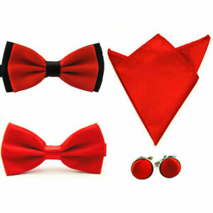 Mens Solid Stain Pre-tied Tuxedo Bow Tie Cufflinks Pocket Square Hanky Set