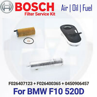 a42 FOR BMW 5 SERIES F10 F11 520d AIR OIL DIESEL FUEL FILTER SERVICE KIT BOSCH