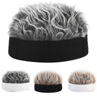 Men Women Novelty Beanie Hat with Fake Hair Funny Short Wig Cap Fashion Gift Hs