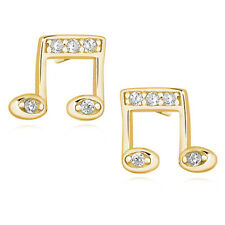 925 Sterling Silver Note Earrings Studs Musical Gold Rose Gold