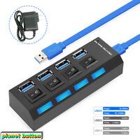 4 Port Powewed USB 3.0 HUB Splitter Box 5Gbps Compact External AC Power Adapter