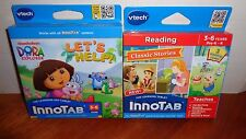 Lot 2 VTECH INNOTAB GAME CARTRIDGES Dora Lets Help & Reading Classic Stories 3-6