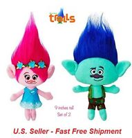 (Set of 2) Plush Princess Poppy and Branch from the Trolls; 11 Inch