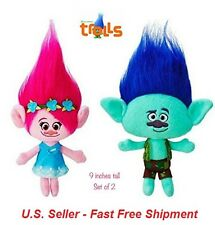 (Set of 2) Plush Princess Poppy and Branch from the Trolls - 9 Inch
