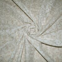 Indian White Gold Hand Block Printed Floral Cotton Fabric 2.5 Yards Dressmaking