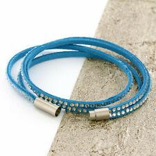 Womens Blue Leather Bracelet, Beaded Bracelet, Wristband, Girls Bracelet